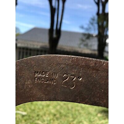 """Antique Sickle. Made in England 23"""". Old farm tools. Wooden handle. GC"""