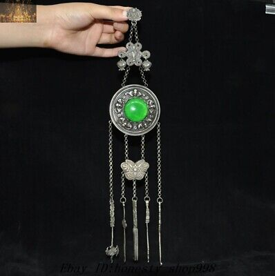 Collect Chinese Ancient Silver Inlay Green jade gem Bat butterfly Amulet pendant