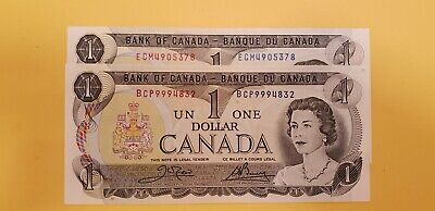 2 Canadian crisp choice uncirculated 1973 One Dollar with different prefixes
