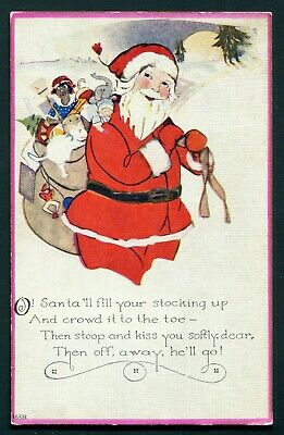 1920's Christmas Postcard - Santa Claus with a Bag of Toys