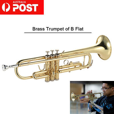 ammoon Trumpet Bb Flat Brass Gold-painted Exquisite Musical Instrument S3S6