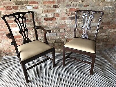 Antique Pair Of Chippendale Chairs Arm Chair Extra Large Seat Dining Wood Cream