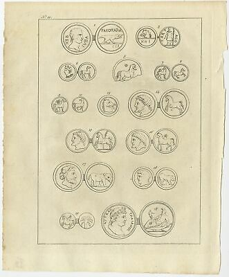 Antique Print of Ancient Coins by Shaw (1773)