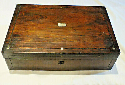 Antique Wooden Writing Slope Box Mother of Pearl inlay - Repair or useful box