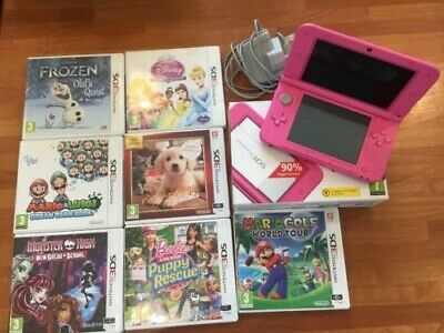 Nintendo 3DS XL PINK Console Bundle with 7 Games + Charger, Boxed