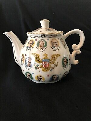 Vintage Teapot Kettle U.S. Presidents Music Box 1960's Eagle Patriotic Mid Cent