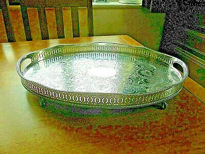 Large Sheffield Silver Plated on Copper Serpentine Gallery Tray
