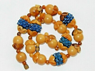 Vintage Art Deco Chunky Carved Blue Brown Marbled Hard Celluloid Bead Necklace