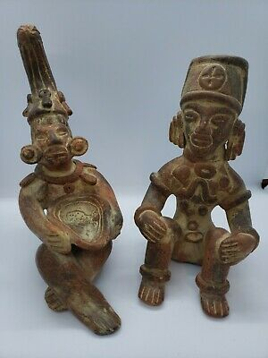 Pair of matching Pre-Columbian seated statue replicas Mayan antiqued pottery