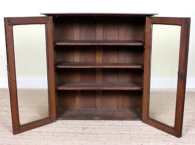 Antique Arts & Crafts Oak Glazed Bookcase Top Country Furniture