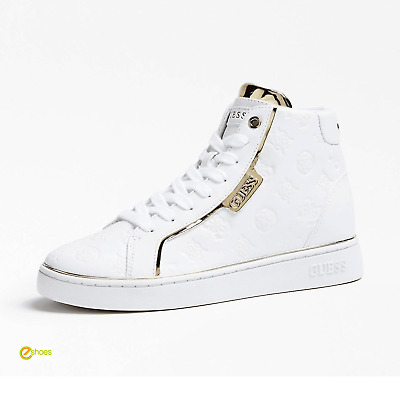 Guess Womens Brina High Top Sneakers (White Gold) Shoes