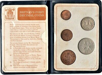 Britain's FIRST Decimal Coin Set Presentation Collection Uncirculated 1971-1968