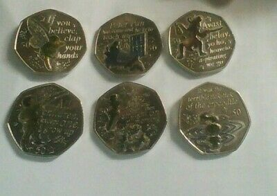 2019 Isle Of Man  Peter Pan 50P Coin Set Six Coins With Colored Decals