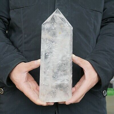 """5.44LB 9.9"""" Natural Clear White Quartz Crystal Point Tower Polished Healing"""