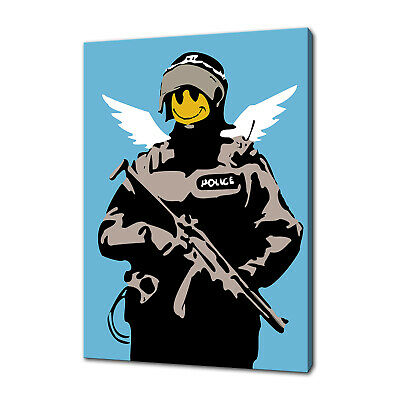 Banksy Flying Copper Canvas Wall Art Picture Prints Free Fast Uk Delivery