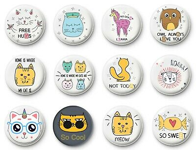 Button badges pin collectable cute animals messages quotes free hugs, meow, cool