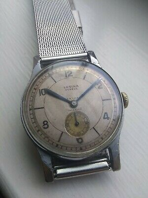 Rare Vintage Lusina Geneve Extra Art Deco Sector Dial Manual Wind