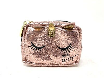 NEW Betsey Johnson Glitter Pink Unicorn Pill Box And Case Eight Compartments
