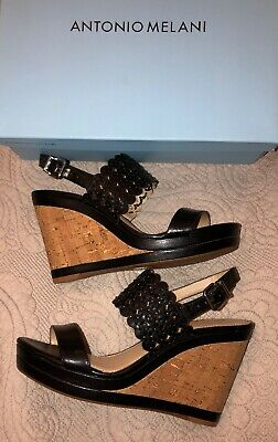 90cebc31686 ANTONIO MELANI BLACK Wedge Shoes Size 9.5 New