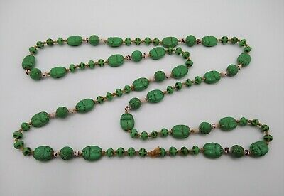 """Vintage Egyptian Revival Green Scarab Necklace 40"""" / 1930's Neiger / Czech"""