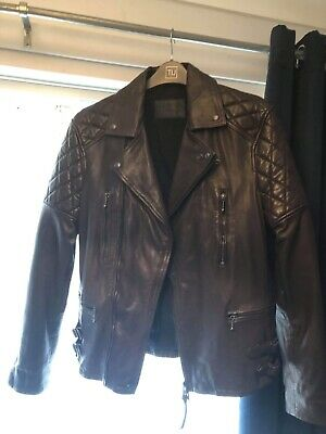 a27578a8e ALL SAINTS VIPER Brown Leather Jacket Mens Rare Size S as worn by ...