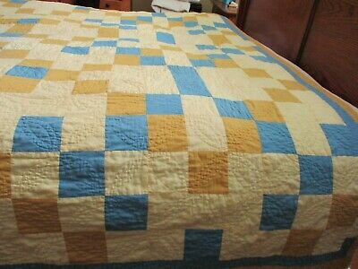Vintage Handmade quilt 90 X 78 estate sale find dated to 1950 Blue and Yellow Ge