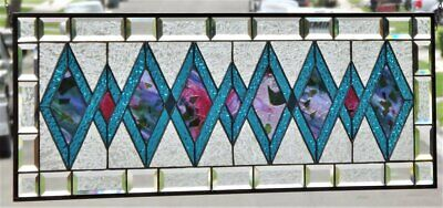 """•SUN-SENTIONEL •Beveled Stained Glass Window Panel • 40 1/4"""" x 14 3/8"""""""