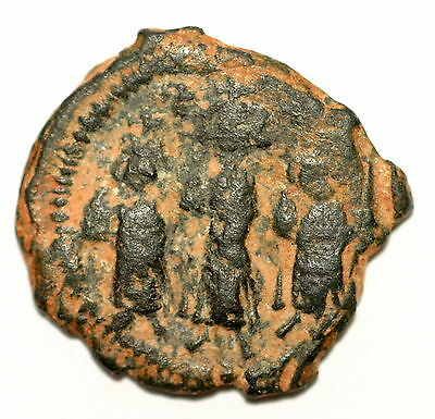 BYZANTINE BROZNE COIN FOLLIS Heraclius with sons large M year XI AE24