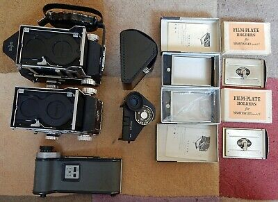 2 x VINTAGE MAMIYAFLEX TLR CAMERA BODIES + FINDERS AND BACKS