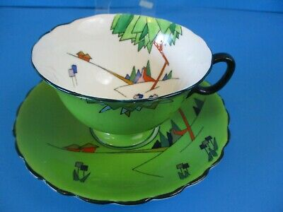 Atlas Art Deco Cabinet Cup & Saucer Square Flowers And Triangle Tree Black Trim