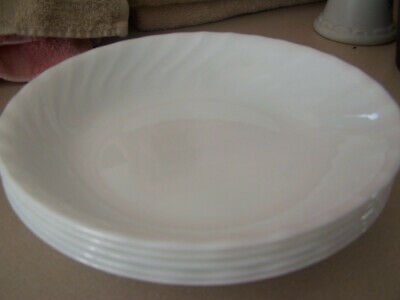 "Corelle by Corning ENHANCEMENTS 8 1/2"" Pasta Bowls Set of 5, White Swirl"