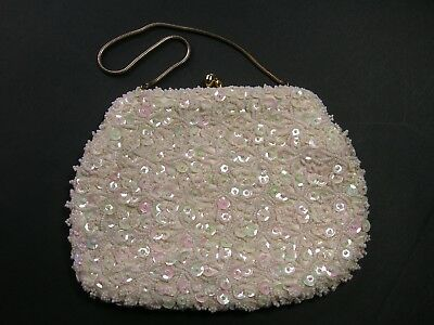 Vintage 1960s White Beaded Evening Purse / Clutch by Geo Mercier