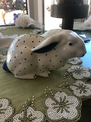 Tiffany blue and white ceramic  bunny piggy bank
