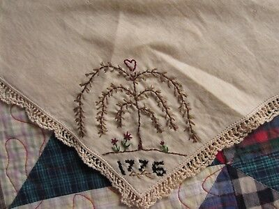 """Primitive Handmade Doily Candlemat Stitchery Sampler Willow Tree Spring Lace 12"""""""