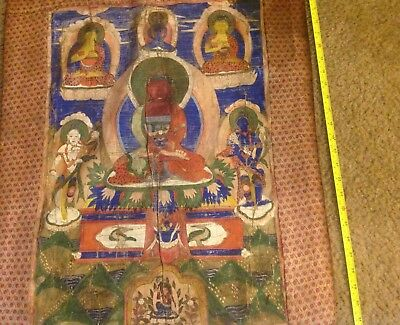 """RARE!!! NEPAL!! THANGKA PAINTING ABOUT 75 YEARS OLD.SIZE:26""""x17"""""""