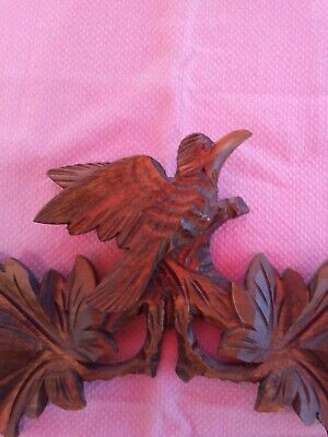 Vintage Wooden Leaves Birds Cuckoo Clock Parts Top Topper 8.5'' across.