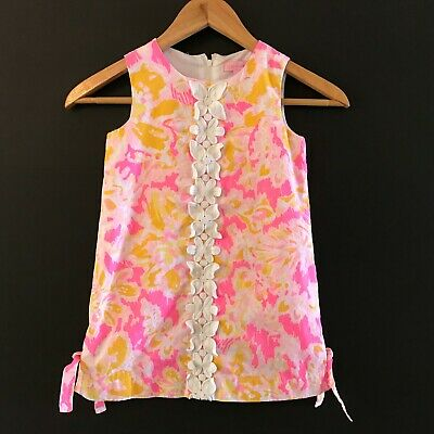936c2948707502 Lilly Pulitzer Girls Little Lilly Classic Shift Dress Pink Yellow Floral sz  5
