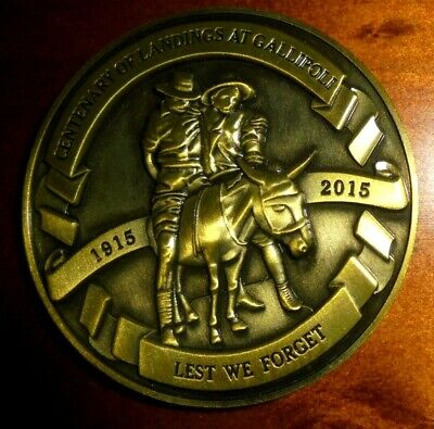 Centenary of Landings at Gallipoli Medallion~ 5cm diameter~ Charlton Electorate
