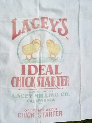 VTG LACEYS IDEAL CHICK STARTER COTTON SACK Cute Chicks for DIY PROJECTS