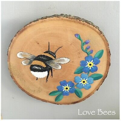 Love Bees Bee-Not-Forgotten (Forget-me-not)  Large Rustic Wooden Wall Art Plaque