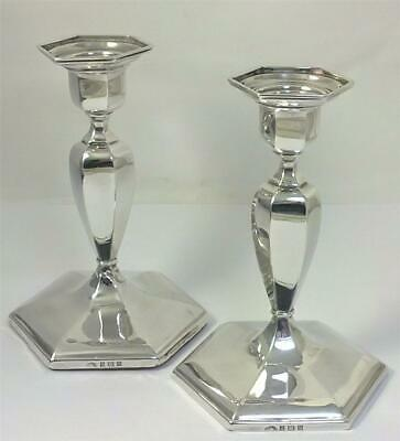 Vintage Pair of hallmarked Sterling Silver Candlesticks  (12.5cm tall) – 1958