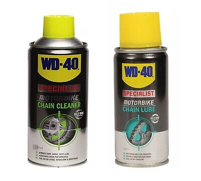 WD-40 SPECIALIST MOTORBIKE CYCLE BIKE 100ml CHAIN CLEANER + LUBE LUBRICANT SPRAY