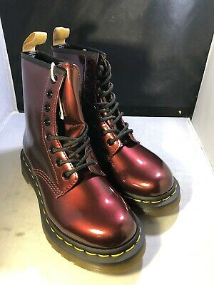 dce1558d9378 Dr Martens Womens 1460 Vegan Chrome Oxblood Boots Size 7 Uk5 # 23922601  (dm90)