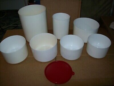 Vintage Tupperware White Canister Lot Of 7 With 1 Red Lid Good Condition