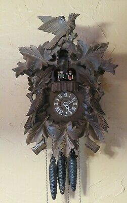 German BLACK FOREST Animated / Musical 1 Day CUCKOO CLOCK 2 Tunes *NICE*