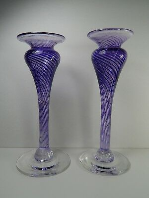 Purple Hand Blown Art Glass Purple Swirl Candle Holders. Signed. Murano style.