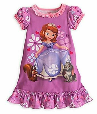 Night Dress Girls DISNEY Princess SOFIA Cotton Summer Wear PURPLE PINK 7/8