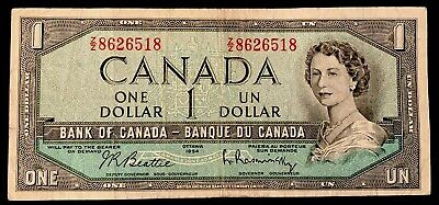 1954 - One Dollar Canadian Banknote - 1$, Bank Of Canada