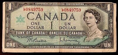 1967 Canadian One Dollar Banknote Bank Of Canada