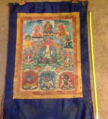 """RARE!!! NEPAL!! THANGKA PAINTING OVER 75 YEARS OLD.SIZE:26""""x17"""""""